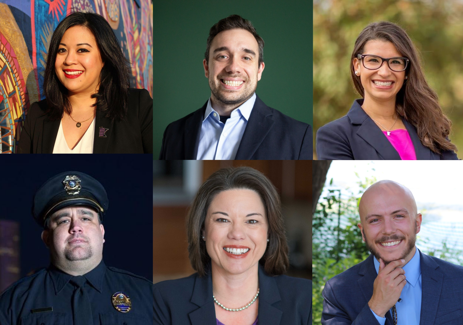 "Top row from left: Mitra Jalali Nelson for St. Paul Ward 4, Matt Pelikan for MN Attorney General, Erin Maye Quade for Lieutenant Governor. Bottom row from left: Dave ""Hutch"" Hutchinson for Hennepin Co. Sheriff, Angie Craig for Congressional District 2, Hunter Cantrell for MN House 56A"